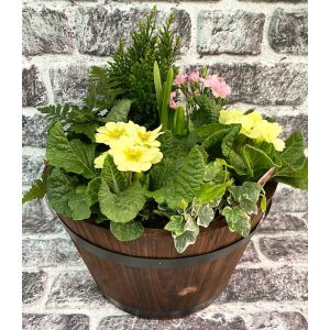 Wooden Barrel Planted Container 32cm