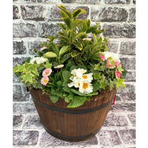 Wooden Barrel Planted Container 38cm