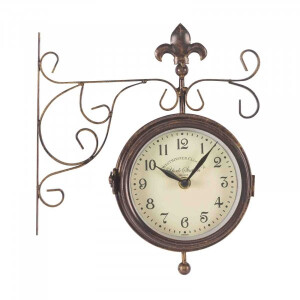 York Double Sided Station Clock with Thermometer