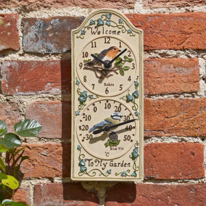 Birdberry Clock with Thermometer