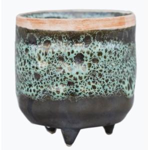 Mini Reactive Glaze Planter Emerald 6cm