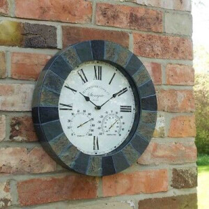 Slate Stonegate Clock with Thermometer